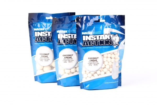 Nash Bait Instant Action 15mm 1kg Coconut Creme (plus 5 free pop ups!)
