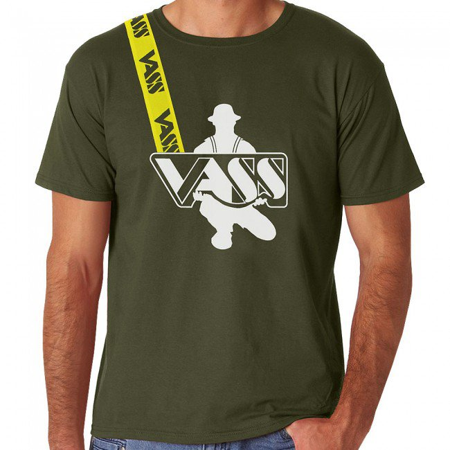 Vass Olive Green T Shirt With Yellow Printed Brace
