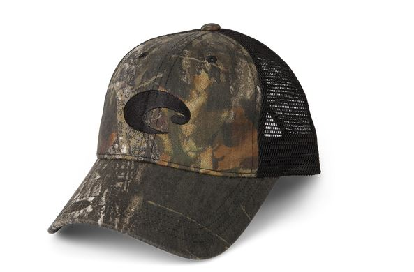 Costa Mesh Trucker Hat Mossy Oak Black