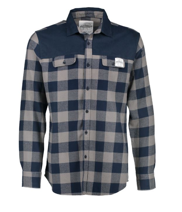 Aqua Products Long Sleeve Blue Check Flannel Shirt